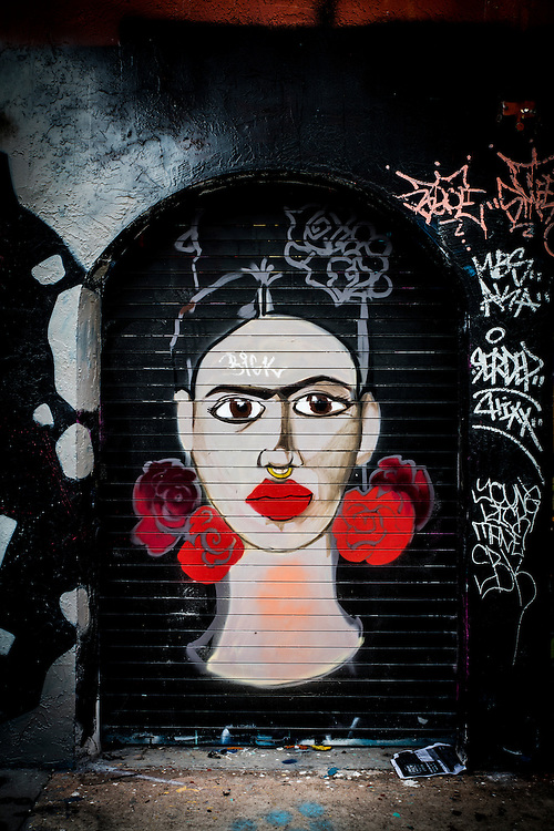 A Frida Kahlo-like face painted on a building in Miami's Wynwood district