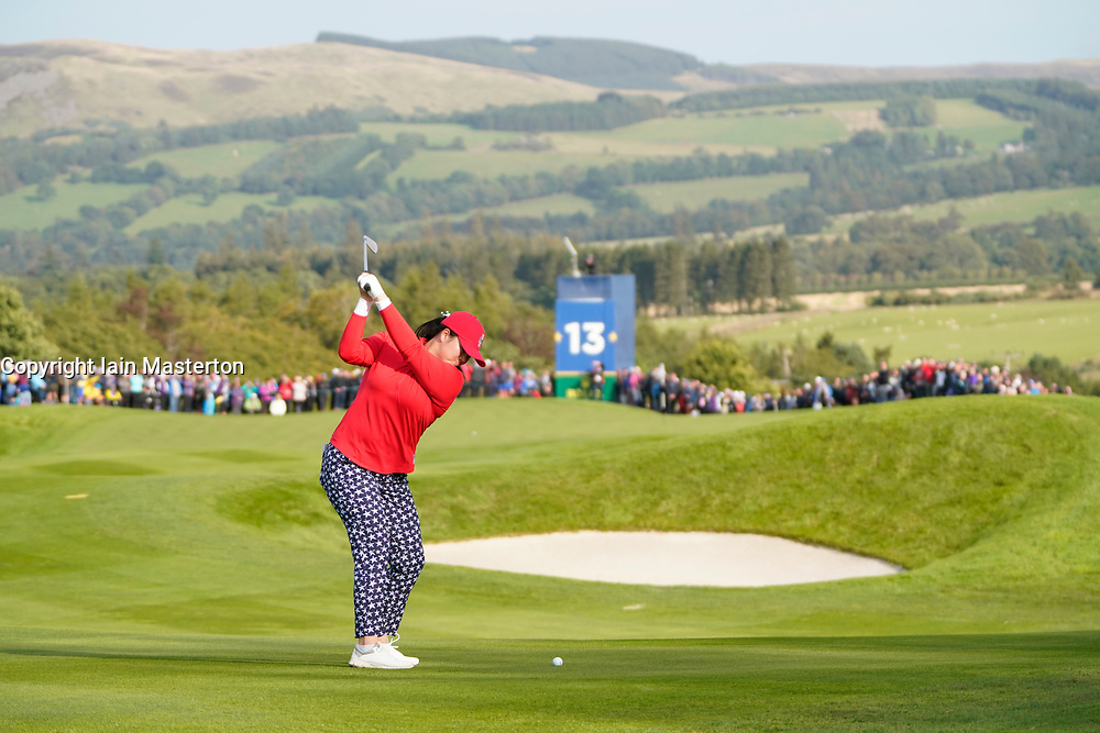Solheim Cup 2019 at Centenary Course at Gleneagles in Scotland, UK. Angel Lin of USA approach to 13th hole during the Friday Afternoon Fourballs.