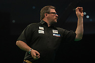 James Wade (England) during the Betway Premier League Darts Night Eight at Marshall Arena, Milton Keynes, United Kingdom on 21 April 2021