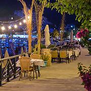 Cafes at the promenade of Turunc at night, Turkey