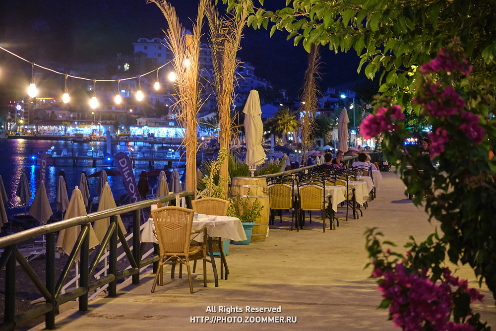 Cafes at the promenade of Turunc at night, Turkey
