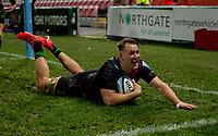 Harlequins' Alex Dombrandt scores his sides fourth try<br /> <br /> Photographer Bob Bradford/CameraSport<br /> <br /> Gallagher Premiership Round 3 - Gloucester Rugby v Harlequins - Sunday 6th December 2020 - Kingsholm Stadium - Gloucester<br /> <br /> World Copyright © 2020 CameraSport. All rights reserved. 43 Linden Ave. Countesthorpe. Leicester. England. LE8 5PG - Tel: +44 (0) 116 277 4147 - admin@camerasport.com - www.camerasport.com