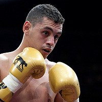 19 November 2009: Tarik Khaidouri (yellow trunks) is seen while fighting against Djamel Selini and during the Grand Tournoi boxing semi finals event at Cirque d'Hiver in Paris, France..