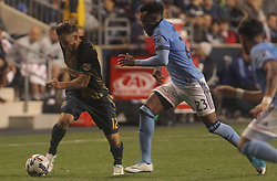 April 14, 2017 - Chester, PA, United States of America - Philadelphia Union Defender KEEGAN ROSENBERRY (12) dribbles down the field in the second half of a Major League Soccer match between the Philadelphia Union and New York City FC Friday, Apr. 17, 2016 at Talen Energy Stadium in Chester, PA. (Credit Image: © Saquan Stimpson via ZUMA Wire)