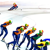 The Netherlands, Amsterdam, 04-01-2015.<br /> Skating, Short Track, Men, Dutch National Championships, 3000 metres, Super Final.<br /> Sjinkie Knegt ( top ) takes in the Super Final a round ahead of his opponents and wins the Dutch National Championships with force majeure.<br /> Photo : Klaas Jan van der Weij