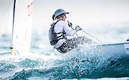 The 2015 Laser Women's Radial World Championship. Mussanah. Oman. November 18-26 November. Day 3 of racing - Mathilde De Kerangat (FRA)<br /> Image licensed to Lloyd Images