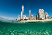 View of the Surfers Paradise beach and skyline taken from the clear water on Friday August 23rd, 2013. (Photo by Matt Roberts/mattrimages.com.au)