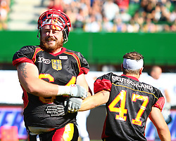16.07.2011, Ernst Happel Stadion, Wien, AUT, American Football WM 2011, Germany (GER) vs France (FRA), im Bild Sascha Sauer (Germany, #64, OL) and Waldemar Schander (Germany, #47, RB)  // during the American Football World Championship 2011 game, Germany vs France, at Ernst Happel Stadion, Wien, 2011-07-16, EXPA Pictures © 2011, PhotoCredit: EXPA/ T. Haumer