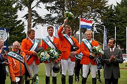 Team Netherlands, Rob Ehrens, Wout Jan Van der Schans, Leopold van Asten, Jur Vrieling, Willem Greve, (NED)<br /> Furusiyya FEI Nations Cup presented by Longines<br /> © Hippo Foto - Dirk Caremans<br /> 13/05/16