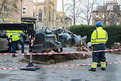 One of the three sculptures that make up The Manuscript of Monte Cassino by Eduardo Paolozzi has been removed from its site on Edinburgh's Picardy Place to allow works on the new St James quarter.<br /> <br /> Local residents have expressed concern that the sculpture won't return to the original site when the works have completed.<br /> <br /> The work was commissioned by entrepreneur, Sir Tom Farmer and remembers the bombing during WW2 of the Monte Cassino monastery - close to the artists family home.<br /> <br /> Pictured: The foot is lifted from the pavement where it has sat since 1991