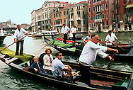 A 29.4 MG IMAGE OF:.Rosalynn Carter, Amy Carter and Secret Service agent travel in a gondola in Venice in June 1980 .Photo by Dennis Brack....
