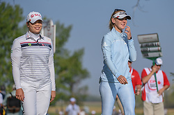 August 23, 2018 - Regina, SK, U.S. - REGINA, SK - AUGUST 23: Ariya Jutanugarn (THA) and Jessica Korda (USA) head down 12 during the CP Women's Open Round 1 at Wascana Country Club on August 23, 2018 in Regina, SK, Canada. (Photo by Ken Murray/Icon Sportswire) (Credit Image: © Ken Murray/Icon SMI via ZUMA Press)