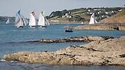 Sailing race at St Mawes estuary, Cornwall, UK