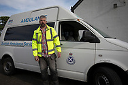 Volunteer ambulance team member Chris Jewell pictured on the the Inner Hebridean island of Colonsay on Scotland's west coast.  The island is in the council area of Argyll and Bute and has an area of 4,074 hectares (15.7 sq mi). Aligned on a south-west to north-east axis, it measures 8 miles (13 km) in length and reaches 3 miles (4.8 km) at its widest point, in 2019 it had a permanent population of 136 adults and children.
