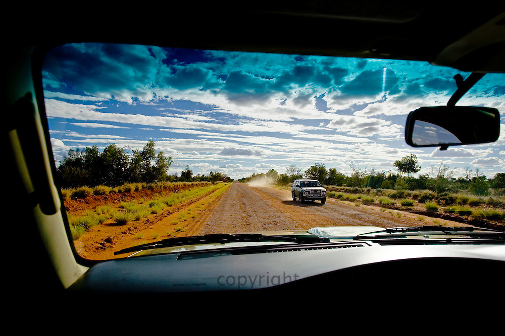 View from a four-wheel-drive vehicle on Mereenie Loop Road, Red Centre, Australia