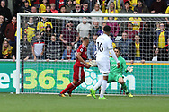Richarlison of Watford beats Lukasz Fabianski, the Swansea goalkeeper as he scores his teams 2nd goal. Premier league match, Swansea city v Watford at the Liberty Stadium in Swansea, South Wales on Saturday 23rd September 2017.<br /> pic by  Andrew Orchard, Andrew Orchard sports photography.