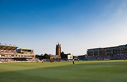 A general view of Cooper Associates County Ground home of Somerset<br /> <br /> Photographer Simon King/Replay Images<br /> <br /> Vitality Blast T20 - Round 1 - Somerset v Gloucestershire - Friday 6th July 2018 - Cooper Associates County Ground - Taunton<br /> <br /> World Copyright © Replay Images . All rights reserved. info@replayimages.co.uk - http://replayimages.co.uk