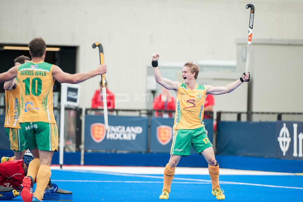 Daniel Sibbald (RSA) celebrates scoring for South Africa. Scotland v South Africa, 3rd/4th play-off, Investec London Cup, Lee Valley Hockey & Tennis Centre, London, UK on 13 July 2014. Photo: Simon Parker