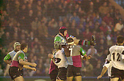 Twickenham, Surrey, 11th November 2002, Zurich Premiership Rugby, Stoop Memorial Ground, England,<br /> [Mandatory Credit: Peter Spurrier/Intersport Images],Zurich Premiership Rugby Harlequins v Saracens<br /> Alex Codling collect the high ball