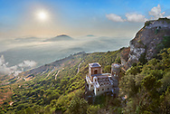 View of the  small Torretta Pepoli Erice, looking out through clouds to the sea below .<br /> <br /> Visit our SICILY PHOTO COLLECTIONS for more   photos  to download or buy as prints https://funkystock.photoshelter.com/gallery-collection/2b-Pictures-Images-of-Sicily-Photos-of-Sicilian-Historic-Landmark-Sites/C0000qAkj8TXCzro<br /> <br /> <br /> Visit our MEDIEVAL PHOTO COLLECTIONS for more   photos  to download or buy as prints https://funkystock.photoshelter.com/gallery-collection/Medieval-Middle-Ages-Historic-Places-Arcaeological-Sites-Pictures-Images-of/C0000B5ZA54_WD0s