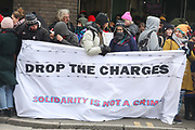 The first day of the trial of the Stansted 15 on March 19th 2018 in Chelmsford, United Kingdom. The trial of the 15 activists is scheduled to last 6 weeks after the group of activists stopped a chartered  deportation flight from Stansted airport, due to send 57 people to Nigeria and Ghana. The 15 are charged with 'endangering an airport' under the 1990 Aviation and Maritime Security Act and if found guilty they could face many years in prison.