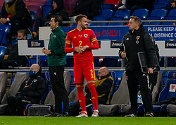 CARDIFF, WALES - Wednesday, November 18, 2020: Wales' Chris Gunter prepares to come on as as a substitute for his 99th cap during the UEFA Nations League Group Stage League B Group 4 match between Wales and Finland at the Cardiff City Stadium. Wales won 3-1 and finished top of Group 4, winning promotion to League A. (Pic by David Rawcliffe/Propaganda)
