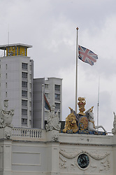 © Licensed to London News Pictures. 23/05/2013.Woolwich Soldier Murder. Woolwich Barracks flag at half mast..Woolwich 'terrorist attack': One dead and two seriously injured. Woolwich Barracks,Woolwich..Photo credit :Grant Falvey/LNP