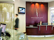 Fontainebleau Aviation concierge desk in their lobby at Opa-locka Executive Airport, near Miami.  <br />