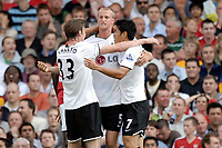 Fotball<br /> England<br /> Foto: Colorsport/Digitalsport<br /> NORWAY ONLY<br /> <br /> Scorer of the only goal of the game, Brede Hangeland (Fulham, centre), is congratulated by Toni Kallio (Fulham, left) and Seol Ki-Hyeon (Fulham). Fulham Vs Arsenal.Barclays Premier League. Craven Cottage. London. 23/08/2008.