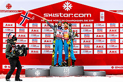 February 9, 2019 - Re, SWEDEN - 190209 Aksel Lund Svindal, Kjetil Jansrud of Norway and Vincent Kriechmayr of Austria  celebrates on the podium after the  men's downhill during the FIS Alpine World Ski Championships on February 9, 2019 in re..Photo: Joel Marklund / BILDBYRN / kod JM / 87853 (Credit Image: © Joel Marklund/Bildbyran via ZUMA Press)