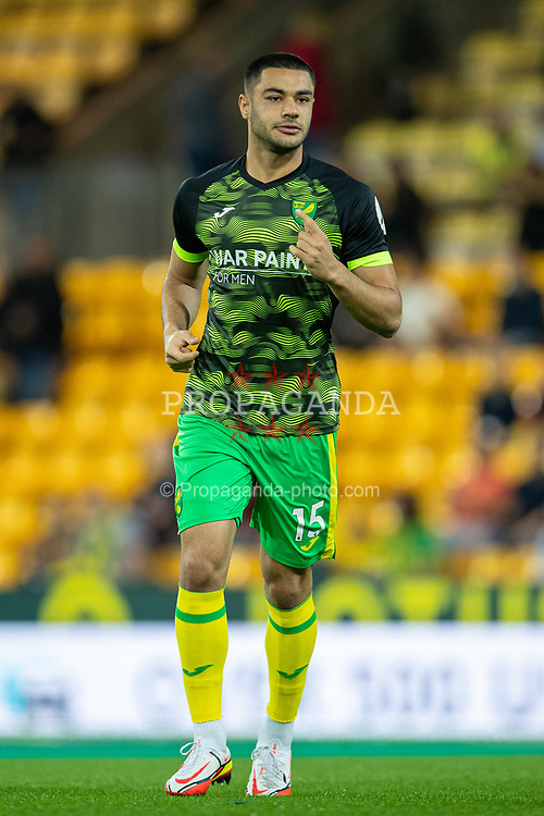 NORWICH, ENGLAND - Tuesday, September 21, 2021: Norwich City's substitute Ozan Kabak during the pre-match warm-up before the Football League Cup 3rd Round match between Norwich City FC and Liverpool FC at Carrow Road. Liverpool won 3-0. (Pic by David Rawcliffe/Propaganda)