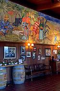 Mural in tasting room, Firestone Vineyards, along Zaca Station Road, Santa Barbara County, California