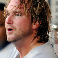 30 May 2007:  Los Angeles Dodgers pitcher Derek Lowe (23) sits in the dugout with a bloody lip in the 2nd inning during the game against the Washington Nationals.  Lowe pitched seven inning without giving up a run while striking out 5 as the Dodgers defeated the Nationals 5-0 at RFK Stadium in Washington, D.C.  ****For Editorial Use Only****