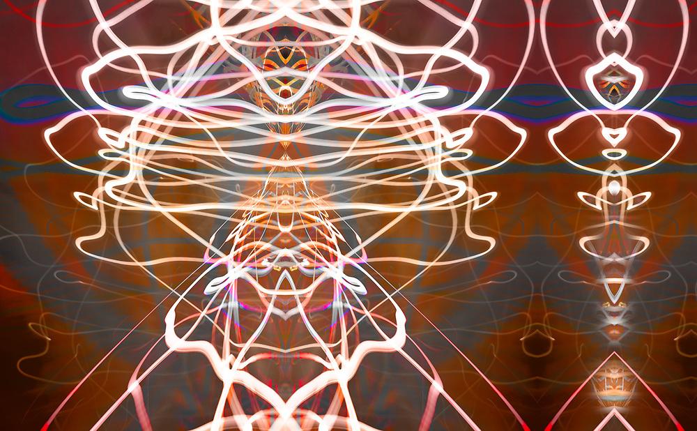 """Mayan Dancers 1"", derivative image from a photo of light painting, visual experimentation, Pat O'Hara Studio, Port Angeles, Washington, USA"