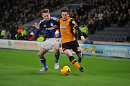 Hull City defender Andrew Robertson (26)  and Aron Gunnarsson of Cardiff City   during the Sky Bet Championship match between Hull City and Cardiff City at the KC Stadium, Kingston upon Hull, England on 13 January 2016. Photo by Ian Lyall.