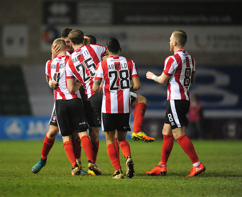 Lincoln City's Terry Hawkridge, left, celebrates scoring his sides second goal <br /> <br /> Photographer Chris Vaughan/CameraSport<br /> <br /> Vanarama National League - Lincoln City v Dover Athletic - Friday 20th January 2017 - Sincil Bank - Lincoln<br /> <br /> World Copyright © 2017 CameraSport. All rights reserved. 43 Linden Ave. Countesthorpe. Leicester. England. LE8 5PG - Tel: +44 (0) 116 277 4147 - admin@camerasport.com - www.camerasport.com