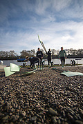 Putney, London, Varsity, Tideway Week, 5th April 2019, Embankment, CUWBC, Blue Boat, crew collect their Blades before  boating on Friday Morning, Oxford Cambridge Media week, Championship Course,<br /> [Mandatory Credit: Peter SPURRIER], Friday,  05.04.19,