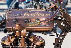 "There is a Knucklehead motor in this Chrysler ""branded"" ""Steampunk"" style custom at the Boardwalk Bike Show during Daytona Bike Week. FL, USA. March 14, 2014.  Photography ©2014 Michael Lichter."
