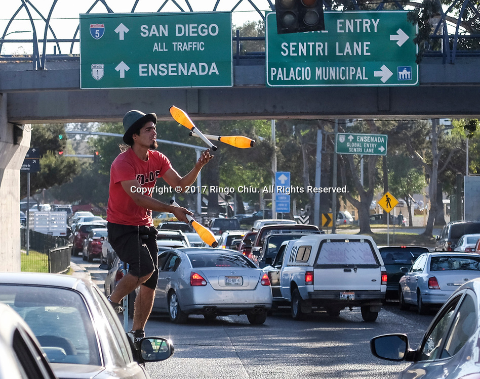 The traffic jam is seen in Tijuana, Mexico on Thursday April 20, 2017. (Xinhua/Zhao Hanrong)(Photo by Ringo Chiu/PHOTOFORMULA.com)<br /> <br /> Usage Notes: This content is intended for editorial use only. For other uses, additional clearances may be required.