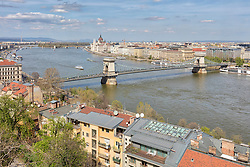 Chain bridge, Danube river and cityscape, Budapest, Hungary