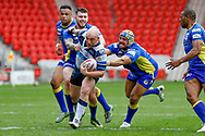 Featherstone Rovers second row John Davies (12) makes a break during the Challenge Cup 2018 match between Doncaster and Featherstone Rovers at the Keepmoat Stadium, Doncaster, England on 22 April 2018. Picture by Simon Davies.