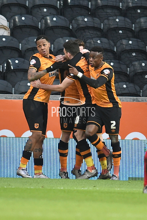 Hull City celebrate Hull City striker Abel Hernandez (9) scoring his third goal to go 3-0 up during the Sky Bet Championship match between Hull City and Charlton Athletic at the KC Stadium, Kingston upon Hull, England on 16 January 2016. Photo by Ian Lyall.