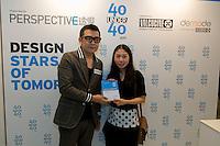 Fashion designer Eva Cheng receives her 40 Under 40 Perspective magazine award.