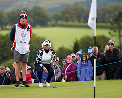 Auchterarder, Scotland, UK. 14 September 2019. Saturday morning Foresomes matches  at 2019 Solheim Cup on Centenary Course at Gleneagles. Pictured; Lizette Salas of USA lines up putt on the 8th green. Iain Masterton/Alamy Live News