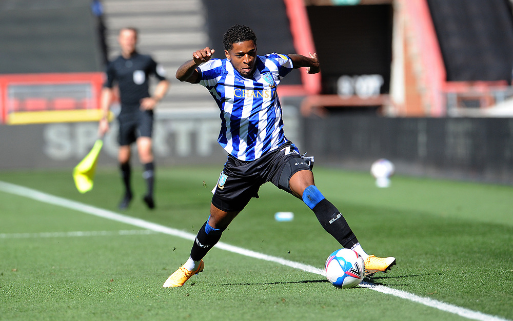 Sheffield Wednesday's Kadeem Harris brings the ball under control during the game <br /> <br /> Photographer Ian Cook/CameraSport<br /> <br /> The EFL Sky Bet Championship - Bristol City v Sheffield Wednesday - Sunday 27th September, 2020 - Ashton Gate - Bristol<br /> <br /> World Copyright © 2020 CameraSport. All rights reserved. 43 Linden Ave. Countesthorpe. Leicester. England. LE8 5PG - Tel: +44 (0) 116 277 4147 - admin@camerasport.com - www.camerasport.com