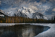 Sunrise on Mt. Moran in Grand Teton National Park, executed with a variety of texture effects and blending.
