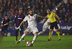 February 24, 2019 - Valencia, Valencia, Spain - Karim Benzema of Real Madrid scores a goal during the La Liga match between Levante and Real Madrid at Estadio Ciutat de Valencia on February 24, 2019 in Valencia, Spain. (Credit Image: © Maria Jose Segovia/NurPhoto via ZUMA Press)