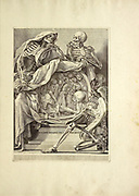 woodcut print at the opening of the Human Anatomy book from Anatomia per uso et intelligenza del disegno printed in Rome in 1691