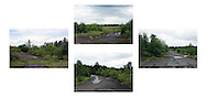 'North, South, East, West, 2014' from the project 'The Fall and Rise of Ravenscraig' by photographer Colin McPherson.<br /> <br /> Photograph shows four views from the same spot on a roadway on the site of the former Ravenscraig steelworks.<br /> <br /> This project, photographed in 2014, looks at the topography of the post-industrial landscape at Ravenscraig, the site until its closure in 1992 of the largest hot strip steel mill in western Europe. In its current state, Ravenscraig is one of the largest derelict sites in Europe measuring over 1,125 acres (4.55 km2) in size, an area equivalent to 700 football pitches or twice the size of Monaco. It is currently being developed with a mix of housing, retail and the home of South Lanarkshire College and the Ravenscraig Regional Sports Facility.
