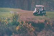 BELGIUM, Brussels. 7/11/2020: Donal Trump playing golf after his opponent J. Biden was declared 46th president at the elections in the USA as seen on television.